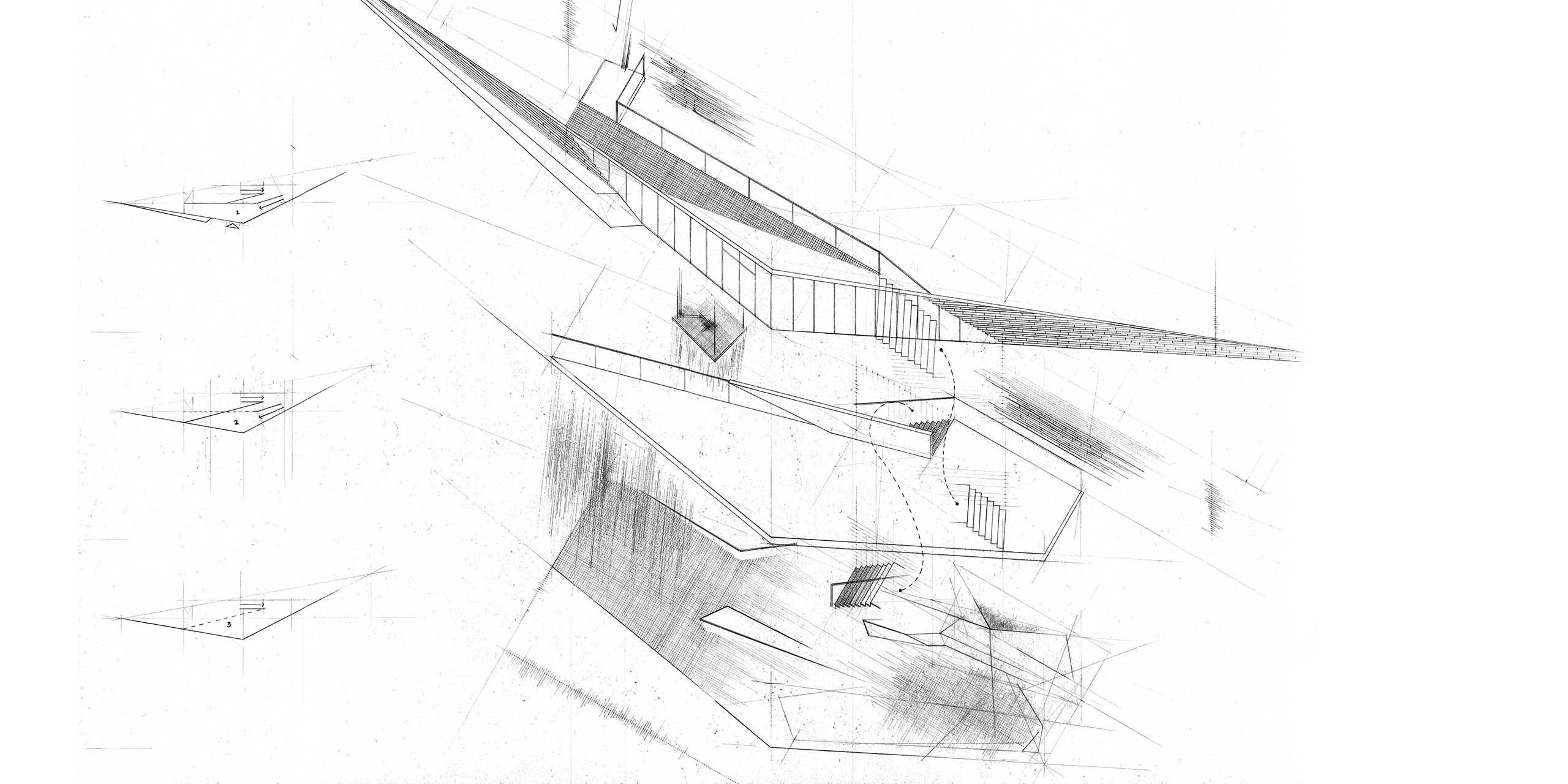 narrative hybrids museum inserted axonometric axo hand drawn architecture nottingham samuel critchlow sam