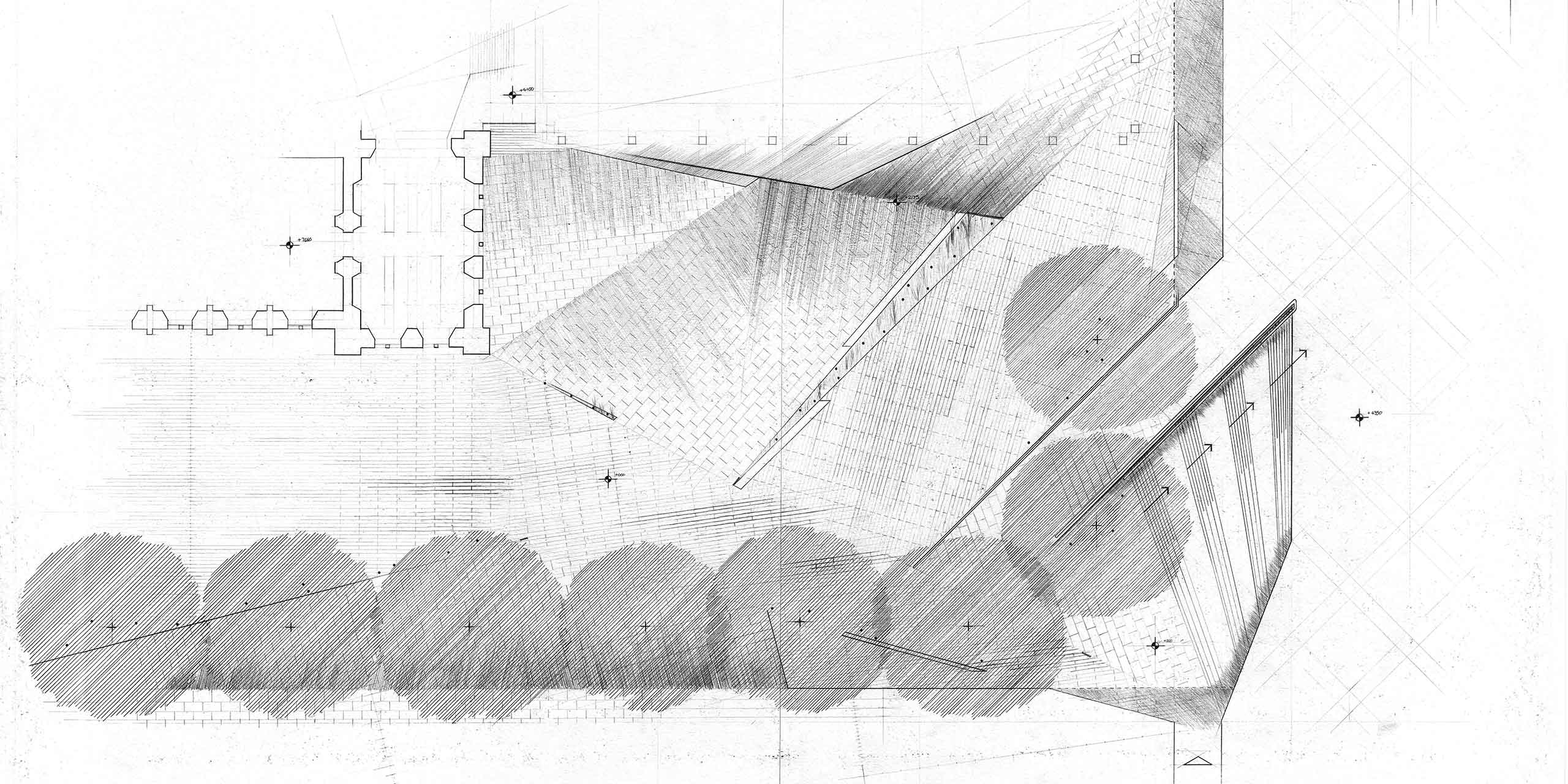 narrative hybrids museum inserted plan axo hand drawn architecture nottingham samuel critchlow sam