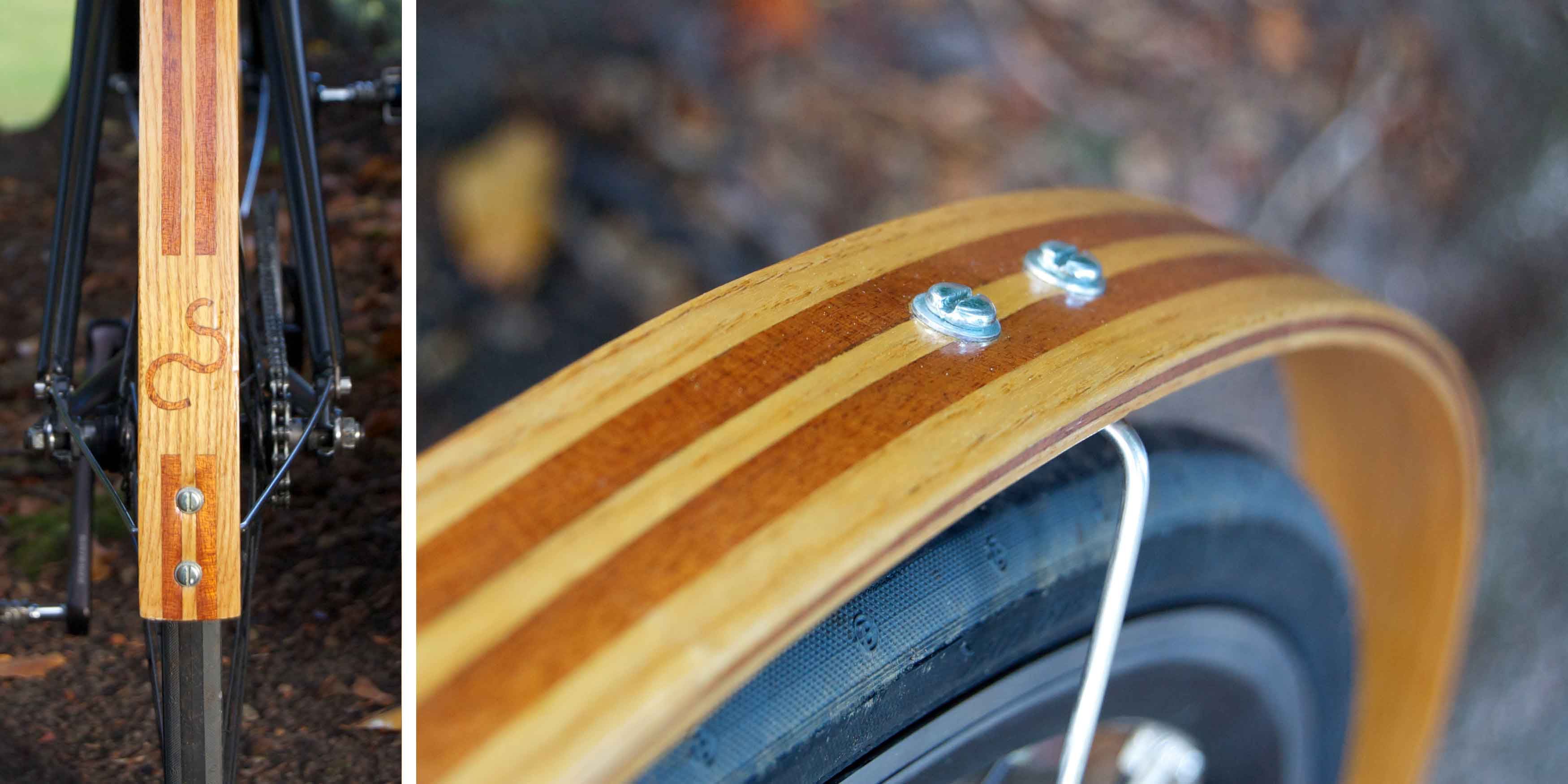 nottingham samuel critchlow sam hand made craft crafted wooden mudguards fenders ash mahogany inlay logo